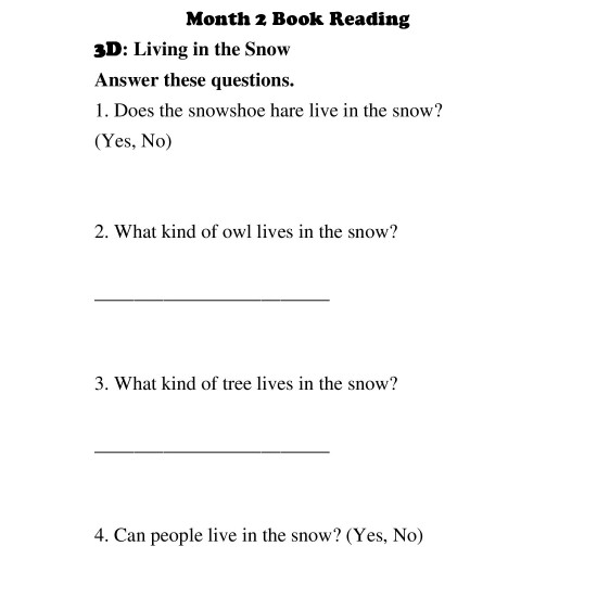1st Grade: Book Reading